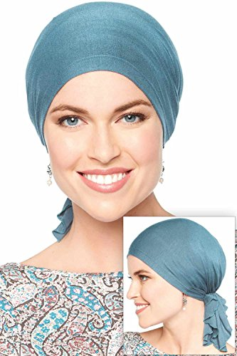 Bamboo Slip-On Pre-Tied Scarf-Caps for Women with Chemo Cancer Hair Loss Luxury Bamboo - Denim by Cardani