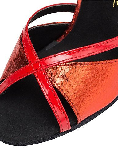 ShangYi Chaussures de danse ( Bleu / Rouge / Or ) - Personnalisables - Talon Personnalisé - Cuir / Similicuir - Latine / Salsa / Samba , gold-us6 / eu36 / uk4 / cn36 , gold-us6 / eu36 / uk4 / cn36