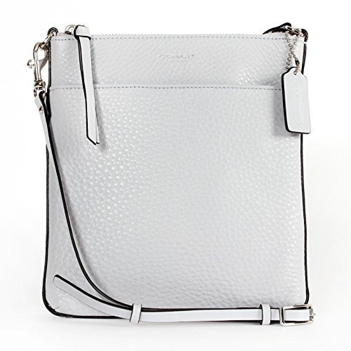 COACH Bleecker Pebbled Leather North  South Swingpack in Silver  Soapstone Grey 51629