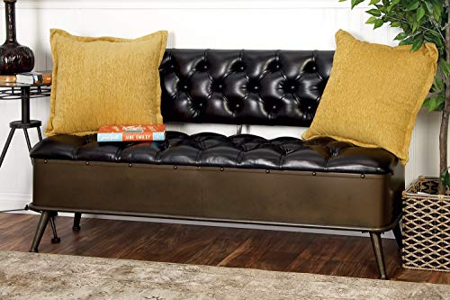 """Benzara  Deco 79 Industrial Leather Upholstered Metal Storage Bench with Backrest, 31""""H x 54""""L, Smooth Black Finish from Benzara"""