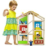 Wooden Wonders Tall Townhome Dollhouse with 16 Pieces of Furniture and 4 Dolls by Imagination Generation