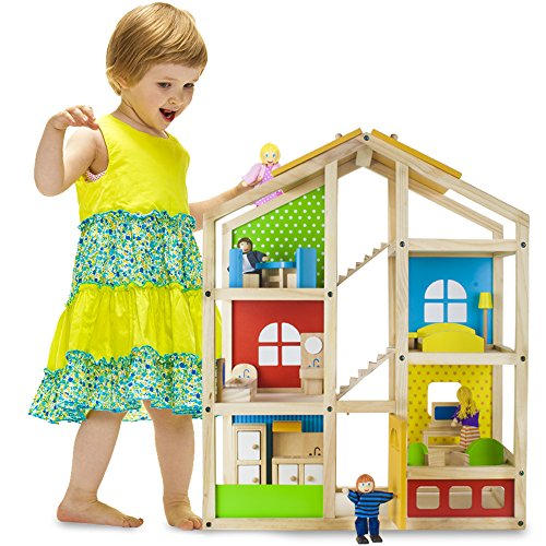 Tall Townhome Dollhouse Set | Premium Wooden Doll Home with 16 Pieces of Furniture and 4 Loving Family Member Dolls | Great for Playtime and Imaginative Play