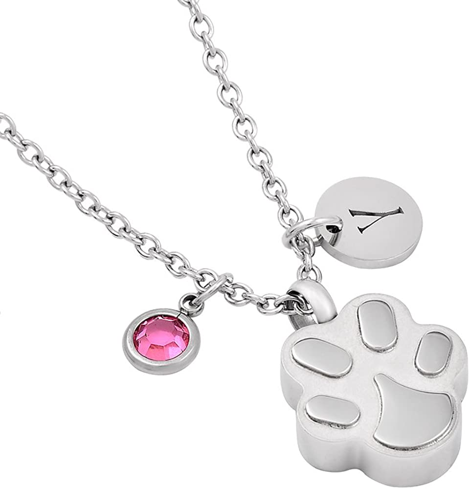 constantlife Paw Shape Dog Pet Urn Pendant Necklace Cremation Jewelry Keepsake Urns with Crystal and Letters