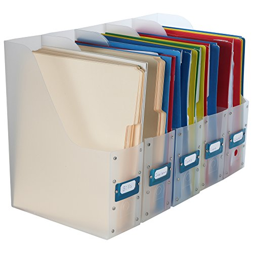 Home-X Clear File Holder Organizers for Magazines or Documents (Set of 5) -