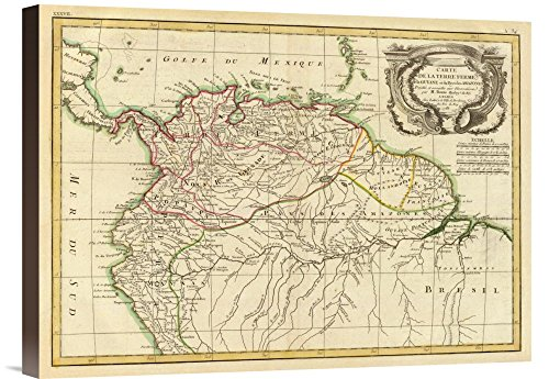 Global Gallery Budget GCS-295687-22-144 Historical Map Rigobert Bonne Terre Ferme Guyane in This case That Color is Turkish Coffee 1785