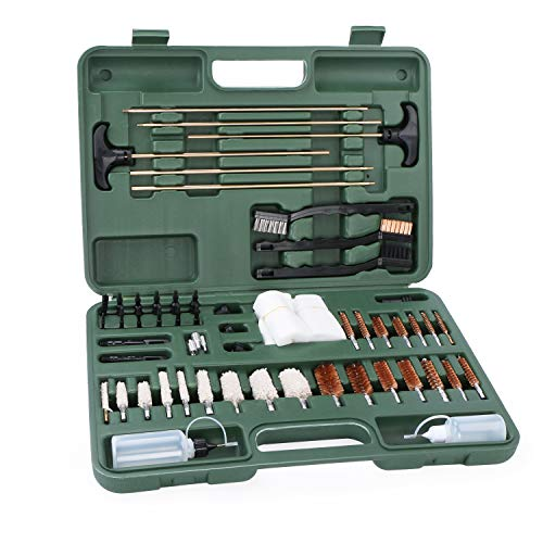 (U.S. Solid Universal Gun Cleaning Kit- 62 Piece Pistol, Revolver, and Rifle Cleaning Kit, Rods Brushes Jags, for All of Your Guns, AR15, Shotgun, M16, M4, 22 to .45 Caliber Handguns, Green Case)