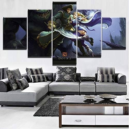 kkxdp Frameless Home Decoration Prints Painting 5 Panel Dota 2 Pictures Game Wall Art Modular Character Canvas Poster Modern Bedside Background-A 2 Frameless Wall Art