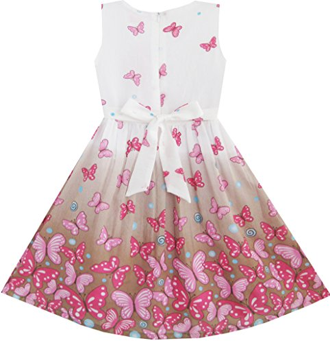 Sunny Fashion Girls Dress Brown Butterfly Double Bow Tie Party Sundress