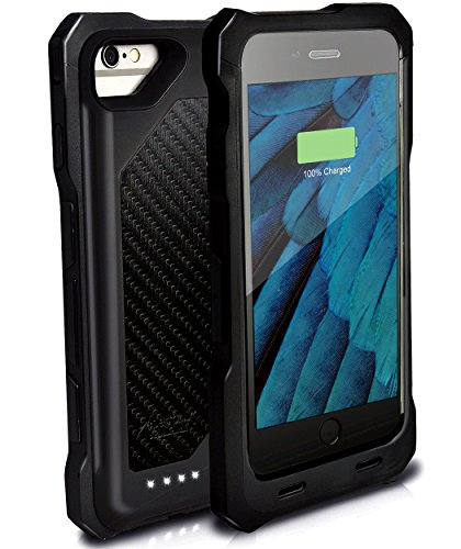 Alpatronix BX150plus 5.5-inch Rugged & Shockproof 4000mAh MFi Certified Protective Portable Battery Charging Case for iPhone 7 Plus, iPhone 6S Plus & iPhone 6 Plus Battery Case - Black Carbon (150 Carbon Insert)
