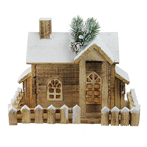"Northlight 12"" LED Lighted Snowy Rustic Wooden Cabin Christmas Decoration"