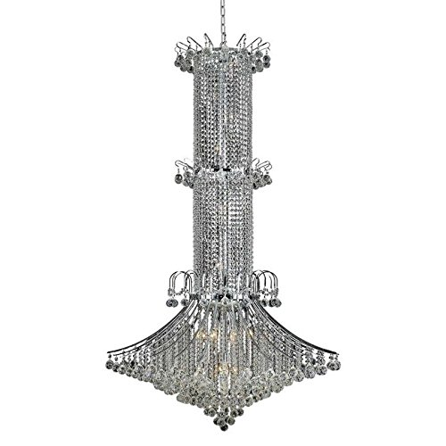 "Elegant Lighting 8008G44C/RC Royal Cut Clear Crystal Toureg 20-Light, Three-Tier Crystal Chandelier, 44"" x 72"", Finished In Chrome with Clear Crystals"