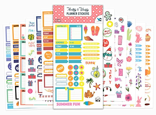 Planner Stickers - 12 Sheets / 632 Stickers Value Pack - Seasonal Stickers for Daily, Weekly & Monthly Planners - by Vladi Creative by Vladi Creative