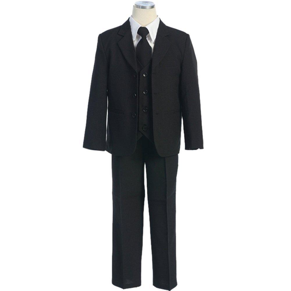 HBDesign Boys'3 Piece 3 Button Notch Lapel Fit Formal Suits Black
