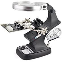 OLLGEN 10 LED Lighting 3X Main Lens 4.5X Accessorial Lens Auxiliary Alligator Clip Magnifier Third Hand Soldering Solder Iron Stand(Black)