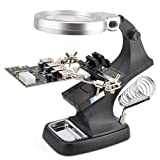 OLLGEN 10 LED Lighting 3X Main Lens 4.5X Accessorial Lens White Auxiliary Alligator Clip Magnifier Third Hand Soldering Solder Iron Stand