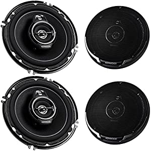 2 PAIRS (4 Speakers) Kenwood KFC-1695PS Performance Series with Sound Harmonizer Technology 6.5-Inch 640W 3-Way Coaxial Stereo Speakers with Grills