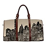 New York Personal Travel Bag,Manhattan Skyline at Night East River Panoramic Famous City Urban Life in USA Decorative for Market,18.62'L x 8.5'W x 9.65'H