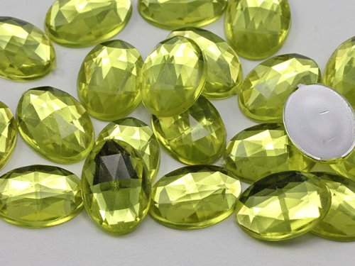 25x18mm Jonquil .JQ26 Flat Back Oval Acrylic Jewels High Quality Pro Grade - 20 Pieces