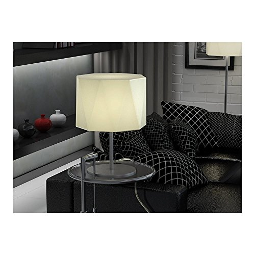 Schuller Spain 464832I4L Modern Matt Chrome Drum Shade Table Lamp White 1 Light Living Room, bed room, Study, Bedroom LED, White Shade Matt Chrome table lamp | ideas4lighting by Schuller