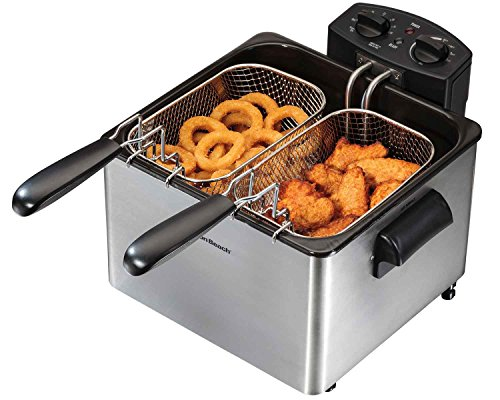 Hamilton Beach Electric Deep Fryer, 4.5-Liter Oil Capacity (35034) (Metal Sauce Cups)