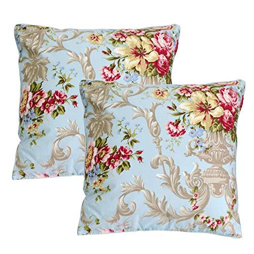 (FADFAY Throw Pillow Cover 2Pcs 18X18 Inch 100% Egyptian Cotton Euro Shams Elegant Peony Floral Decorative Pillow Case Home Sofa Cushion Set)