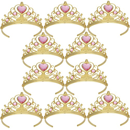 XiangGuanQianYing Tiaras and Crowns for Little Girls Crowns and Tiaras for Child from 3 Years Up Party Favors Pink Tiara Plastic Gold Tiara(10 Pack) ()