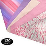 Watercolor Gift Wrapping Tissue Paper Set - 120 Sheets - Patterned and Solid Color