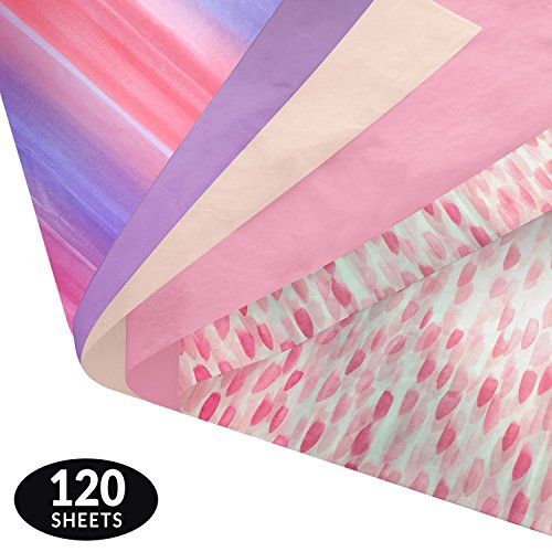 - Watercolor Gift Wrapping Tissue Paper Set - 120 Sheets - Patterned and Solid Color