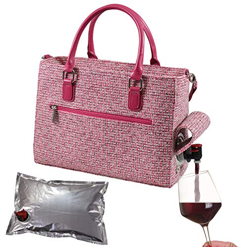 Primeware Insulated Drink Purse w/ 3L Bladder Bag | Thermal Hot and Cold Storage | Portable Drinking Dispenser for Wine, Cocktails, Beer, Alcohol | PU Leather Finish (Pink Tweed)