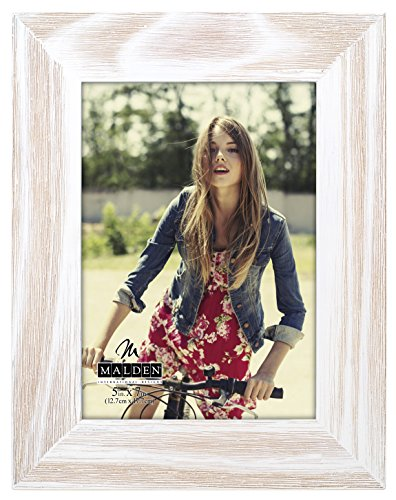 Frame Whitewash (Malden International Designs Rustic Fashion Wide Linear White Wash Wooden Picture Frame, 5x7, White)