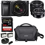 Sony α6300 Mirrorless Digital Camera (Black) with 18-135mm, SEL50F18F & SELP1650 Lens