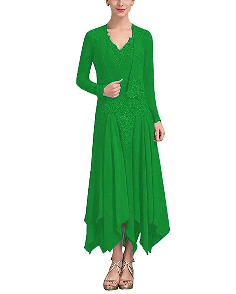 V Neck Chiffon Tea Length Mother The Bride Dress Long Sleeve Formal Evening Gown