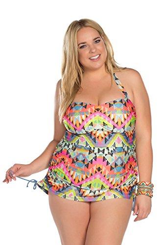51e7aaa3bff Becca ETC Women's Plus Size Cayenne Halter One Piece  Swimsuit-0X-BeccaEtc16_CayenneMlt