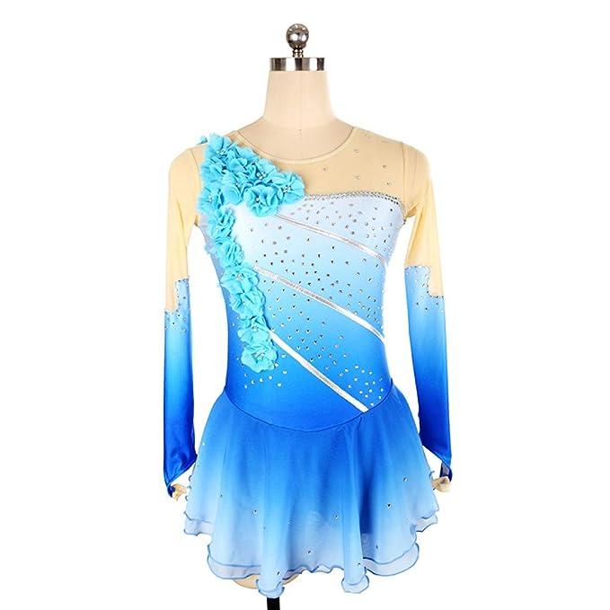 GZHGF Handgemachte Mädchen Nylon Blume Strass Kostüm Eislaufen Kleid ...