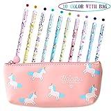 Yansion Unicorn Flamingo Pens Set Cute PU Zipper Unicorn Pencil Case Pouch Bag for Girls