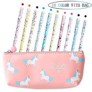 Bolígrafos de unicornio para niñas, regalo de cumpleaños escolar, VSTON juego de bolígrafos de unicornio para escribir con tinta negra suave para ...