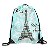 WSXEDC Drawstring Bag Paris Mon Amour Durable Backpack For Yoga Sport Travel