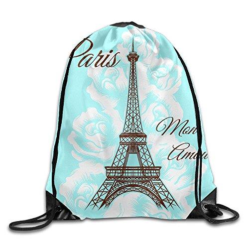 WSXEDC Drawstring Bag Paris Mon Amour Durable Backpack For Yoga Sport Travel by WSXEDC