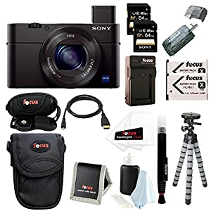 Sony DSC-RX100M III Cyber-shot Digital Still Camera + 64GB Sony Memory Card + Deluxe Focus Accessory Kit