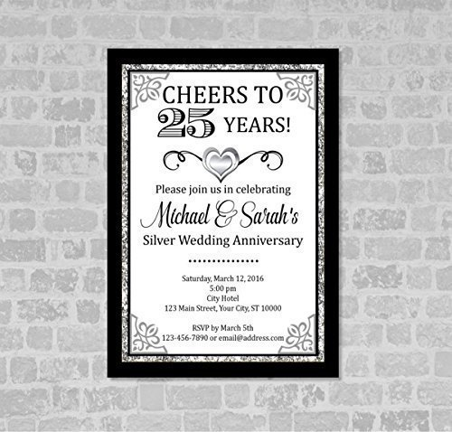 Image Unavailable. Image not available for. Color: Silver Wedding Anniversary Invitation ...