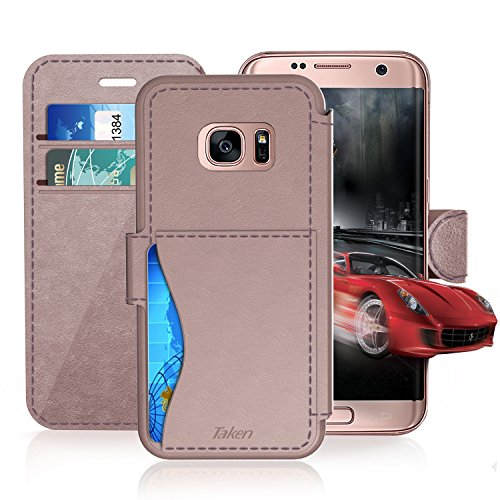 Samsung Galaxy S 7 Leather Wallet Case with Credit Cards Slot and Metal Magnetic Clip, TAKEN Galaxy S7 Plastic Flip Case / Cover, Vintage and Fashion, Durable and Shockproof Holster (Rose Gold) 2016
