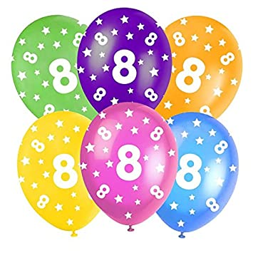 8th Birthday Assorted Multi Coloured 12quot Latex Balloons