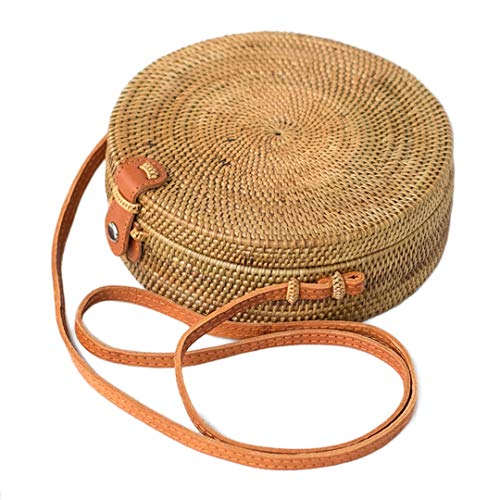 Bali Wicker - Bali Harvest Round Woven Ata Rattan Bag Batik Linen Inside (with Genuine Leather Strap) (Brown Leather Button)