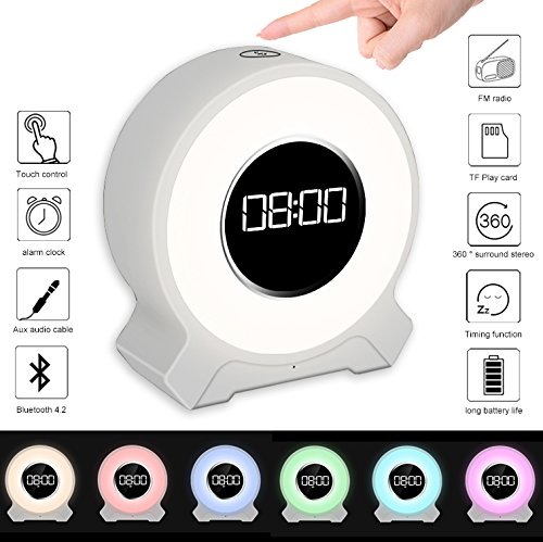 JIAXIN Alarm Clock Light Bluetooth Speaker Rechargeable,Smart Touch Sensor Lamp 7 Color Changing,Bedside Table Lamp for Bedroom and Outdoor Warm Light,FM Radio,Best Gift for Party,Hiking,Camping-White