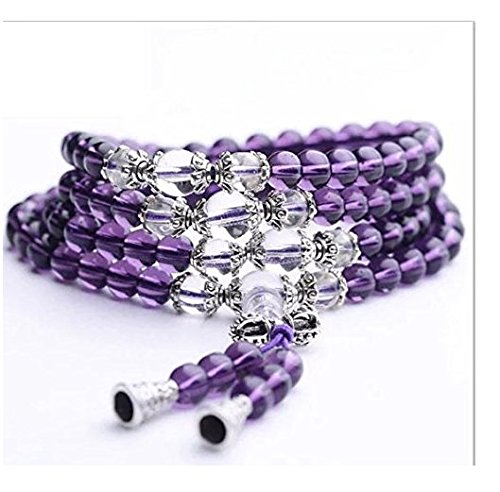 Crystal Gemstone Tibet Buddhist Buddha Meditation 108 Prayer Bead Mala Bracelet/Necklace style.2