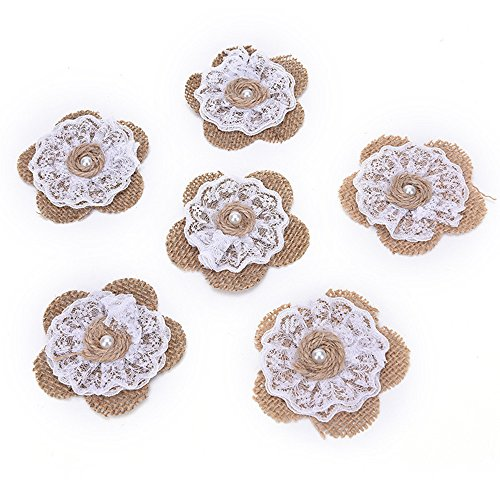 OZXCHIXU 12pcs Burlap Lace Flower with Pearl Natural color Rustic Wedding Paty Decoration and Crafts DIY -