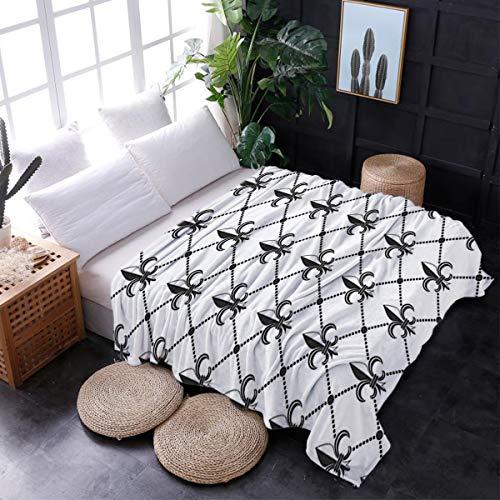 lightweight Throw Blanket,Microfiber Blanket Suitable for All Season,Couch Sofa Bed Blanket-Ethnic Lily Pattern Classic Retro Royal Vintage European Iris Ornamental Artwork(50