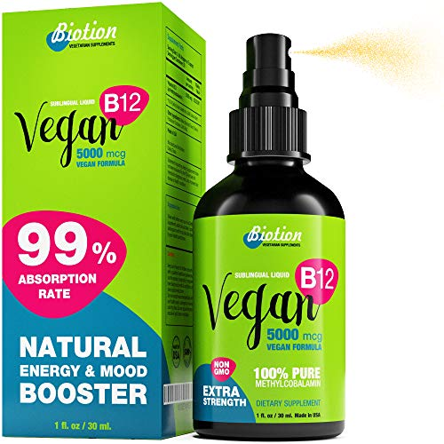 Vegan Vitamin B12-100% Organic Methylcobalamin Extra Strenght 5000 mcg Vegan Formula - Sublingual Liquid Drops - Non-GMO - Energy Booster and Nervuos System Support - US Made - 150 Day Supply