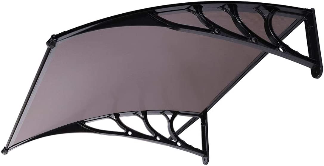 VIVOHOME Polycarbonate Window Door Awning Canopy Brown with Black Bracket 40 Inch x 40 Inch