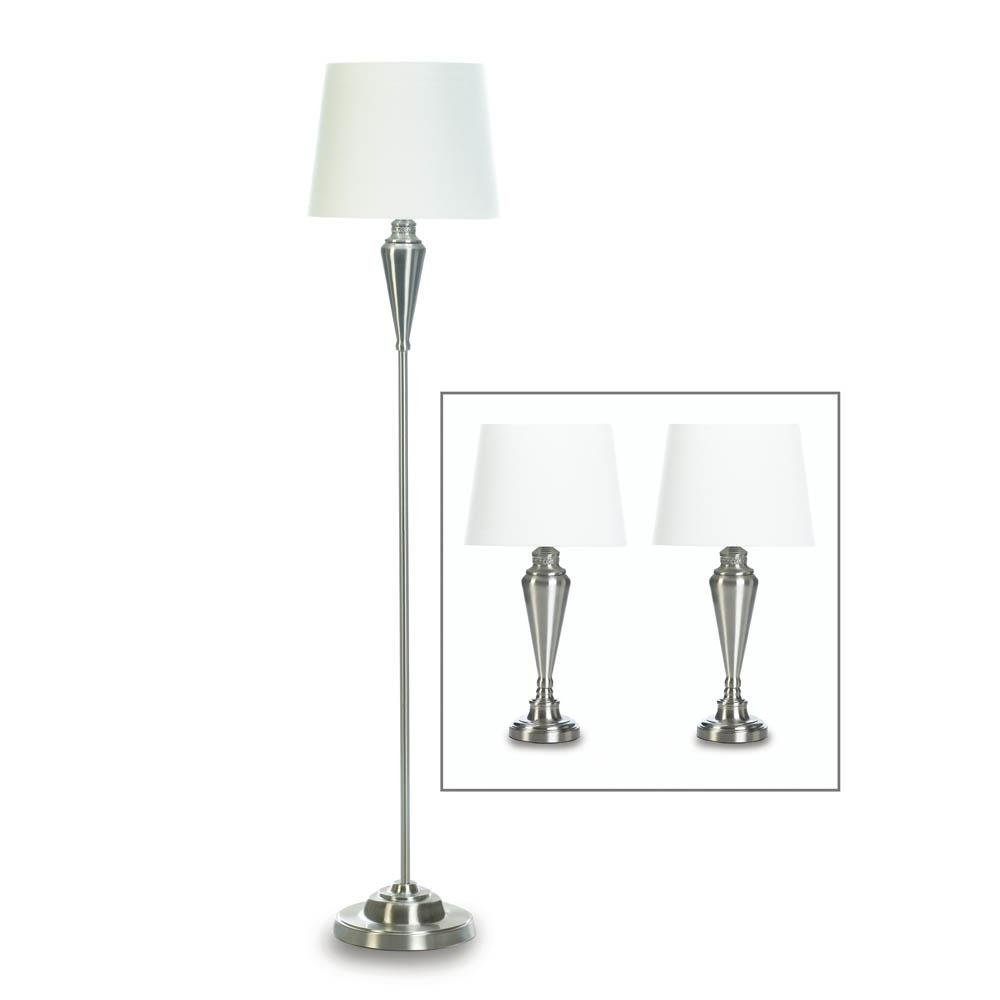 Lamp Set, Bright Silver Bed Table Lamps Sets For Living Room Floor Lamps Metal